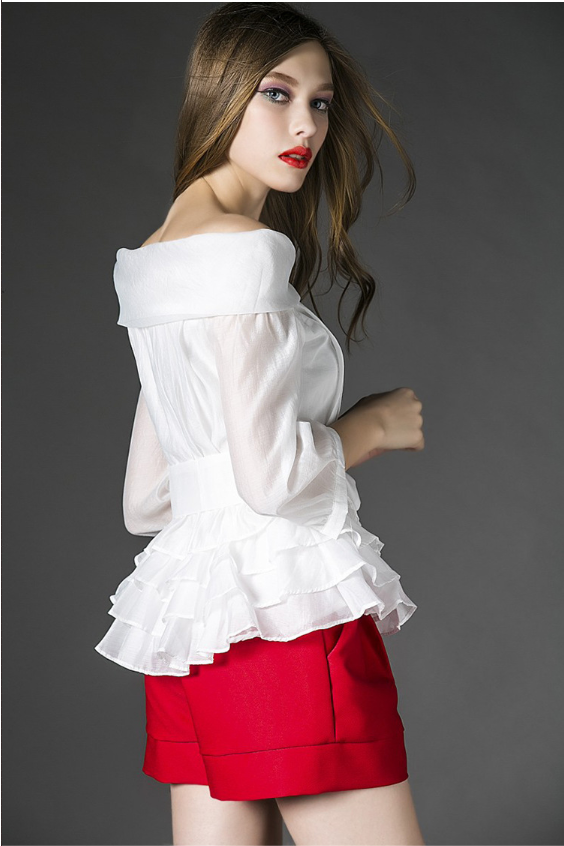 Peplum Open Shoulder Ruffle Top + Shorts Set