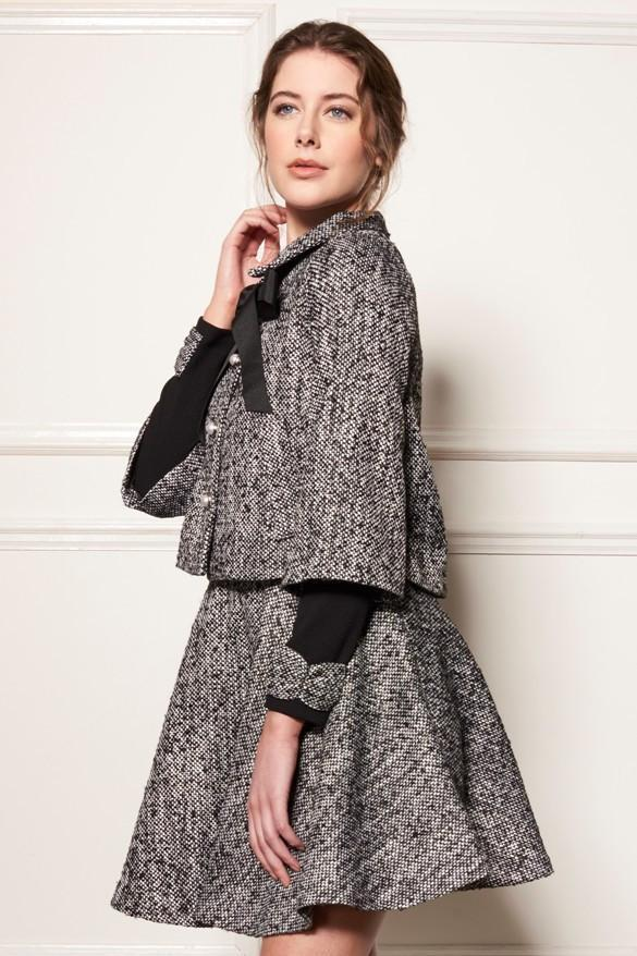 .Black SHERLOCK CAPE STYLE TWILL COAT