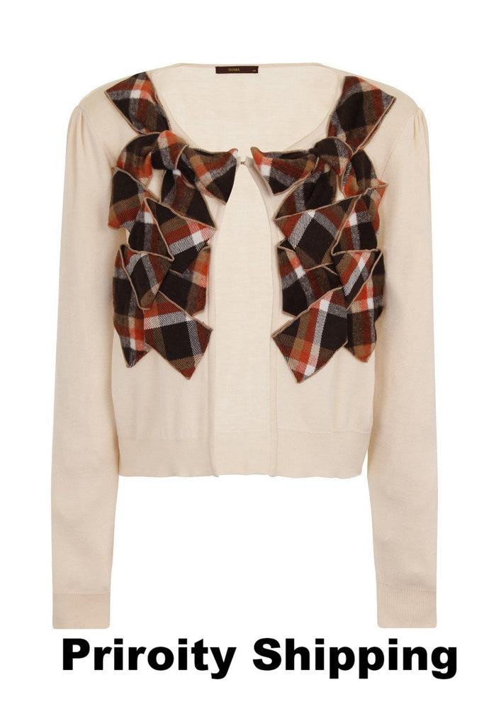 CHECKER CARDIGAN - CREAM