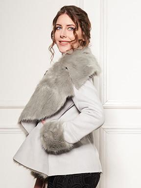 .Floating Grey Furry Open Coat