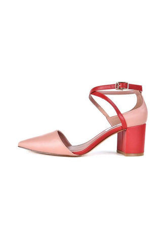 Color Block Metal Hardware Pointed Toe Chunky Heel Sandals