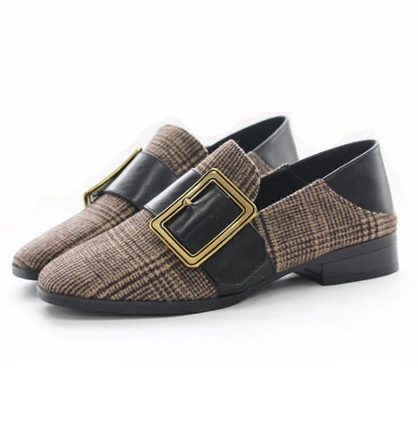 Buckle at Top Square Toe Suede Flat Mules