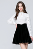 .Frill Long Sleeve Beads Embelished Mock Neck Blouse