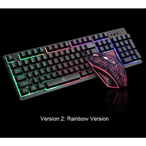 104 Keys LED Flame Theme Gaming Keyboard with Mouse