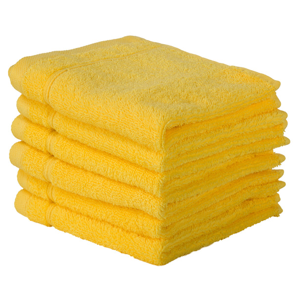 Yellow 6 PACK Turkish Cotton Washcloths Towels Set | Super Soft Highly Absorbent | Spa&Hotel Quality