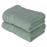 Green 2 PACK Turkish Cotton Bath Towels Set | Super Soft Highly Absorbent | Spa & Hotel Quality
