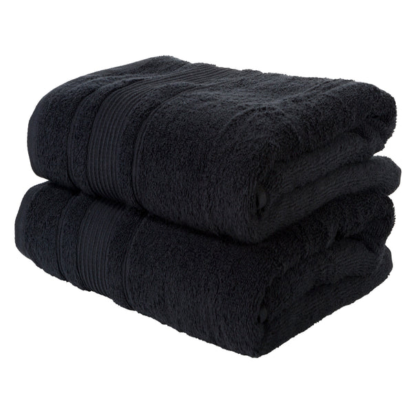 Black 2 PACK Turkish Cotton Bath Towels Set | Super Soft Highly Absorbent | Spa & Hotel Quality