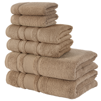 Qute Home Spa&Hotel Towels 6 Piece Towel Set, 2 Bath Towels, 2 Hand Towels, and 2 Washcloths - Grey