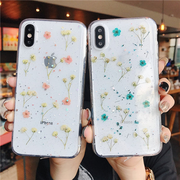 Pressed Flowers Transparent Soft TPU Phone Case For iPhones-The Lustre Company
