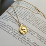 Stainless Steel/Silver Plated Coin Necklace-The Lustre Company