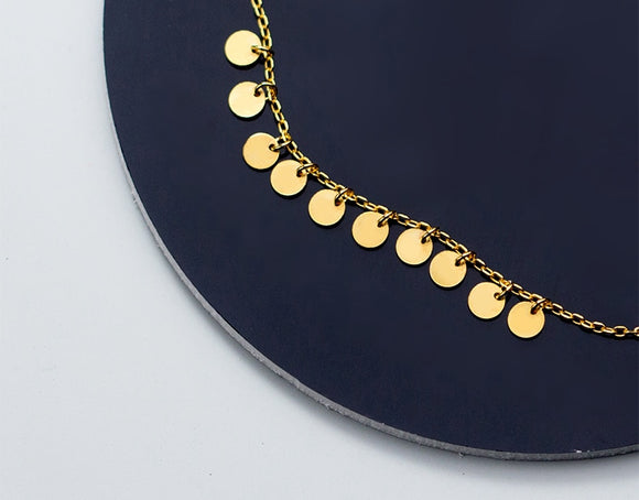 925 Sterling Silver Gold Round Wafer Bracelet-The Lustre Company