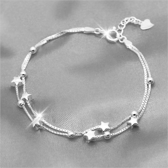 925 Sterling Silver Double Layer Star Beads Bracelet-The Lustre Company