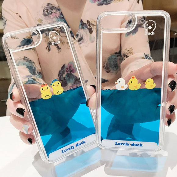 Cartoon 3D Swimming Duck Cover Case For iPhones-The Lustre Company