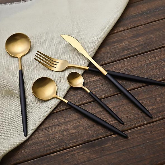 Stainless Steel Black and Gold Cutlery Set-The Lustre Company