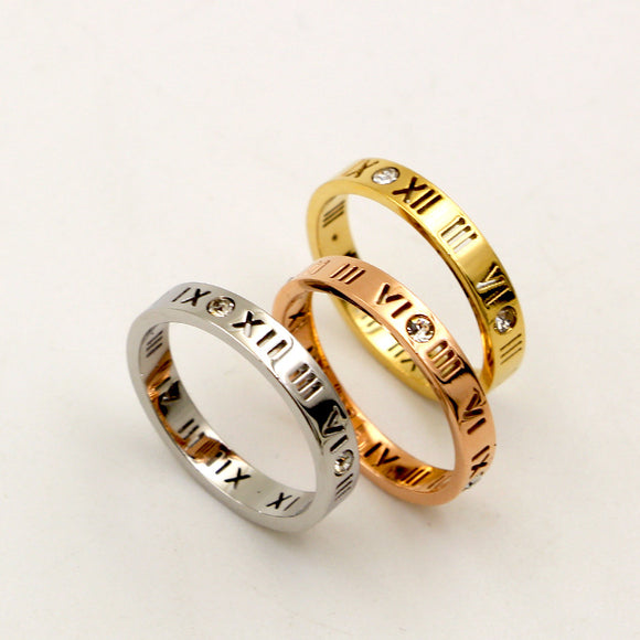 Stainless Steel Roman Numerals Ring-The Lustre Company