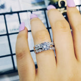 925 Sterling Silver 3 Ring Set-The Lustre Company