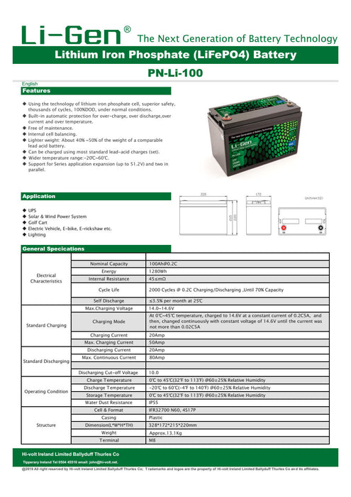 Lithium Ion 100 Amp Battery