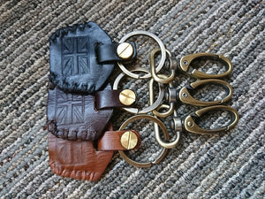 KB-KEYUJ - Leather Key Chain w/ Union Jack