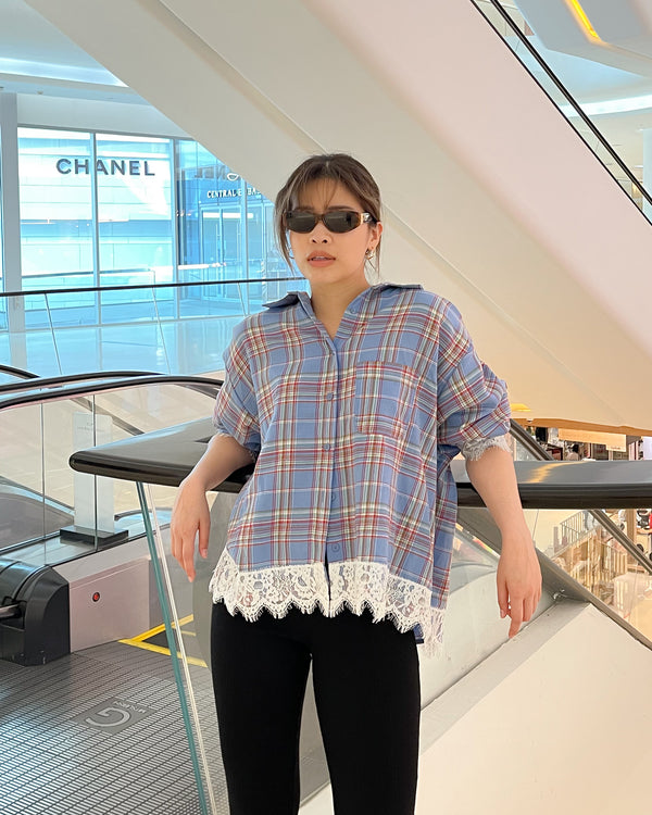 check lace oversize shirt