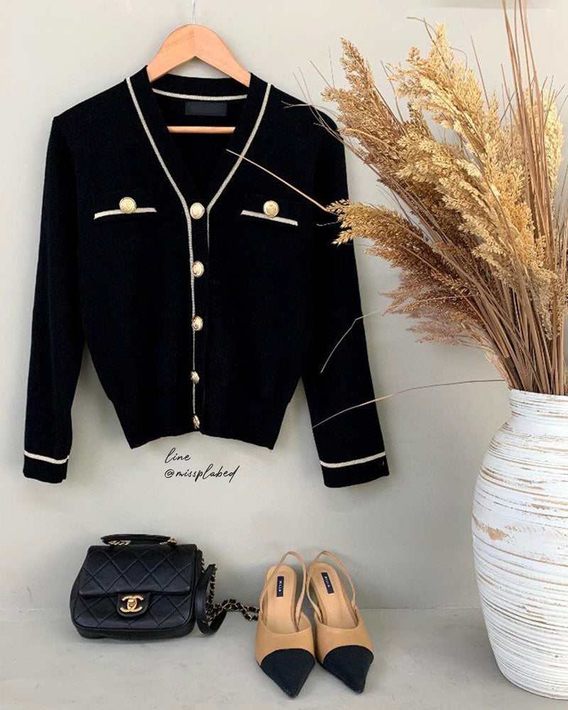 gold button v neck cardigan