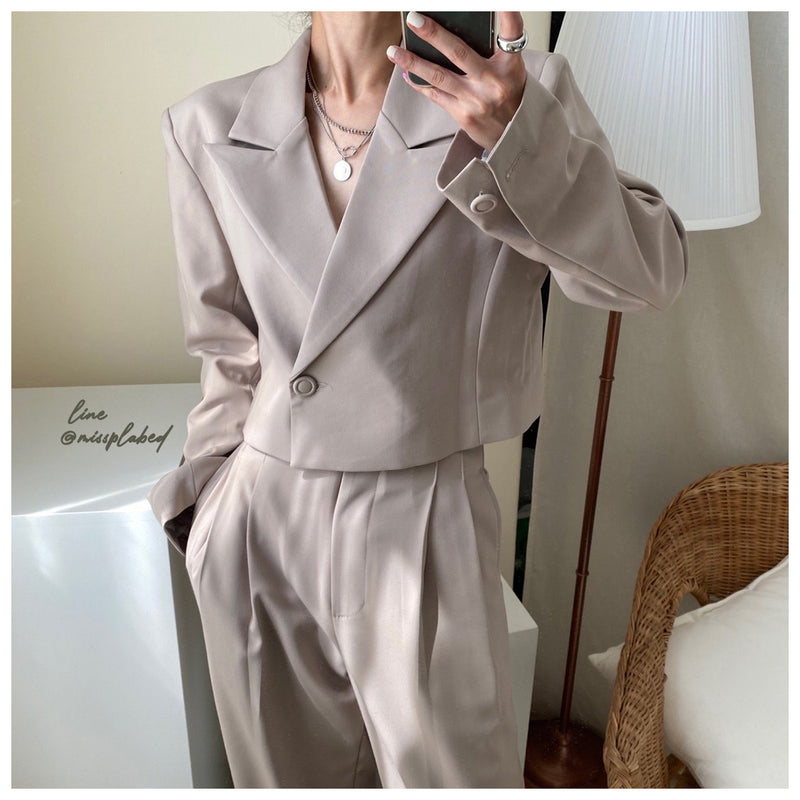 double breasted crop suit