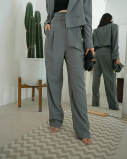 high-rise slim trousers