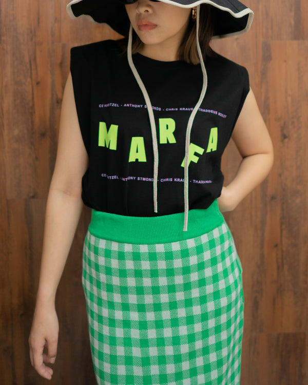 MARFA padded shoulder sleeveless tee