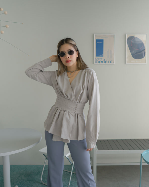 pleat belt smock blouse