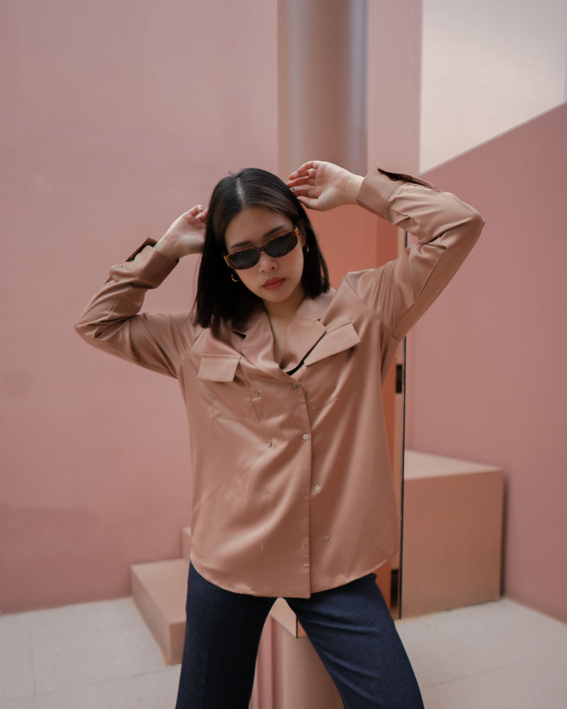 pocket satin shirt (premium satin)