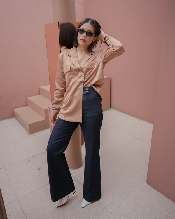 double pocket h-w flare jeans