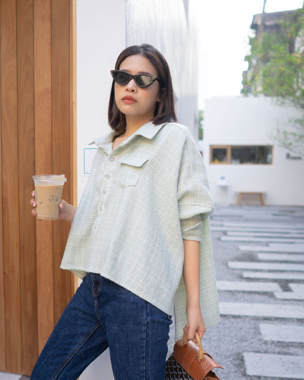 oversize tweed shirt