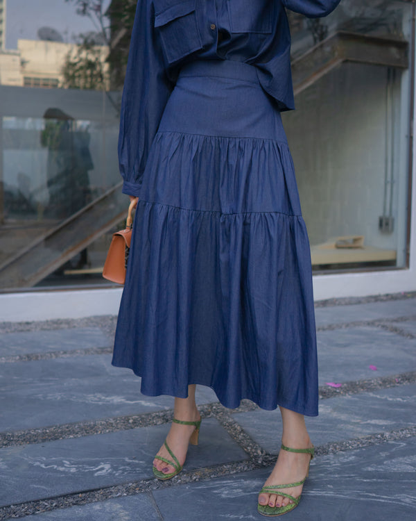 peplum denim skirt
