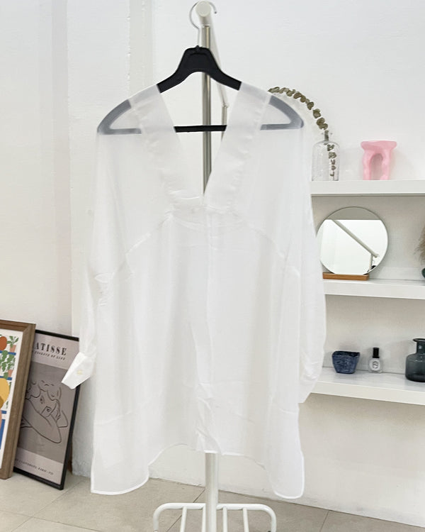 double v neck chiffon blouse