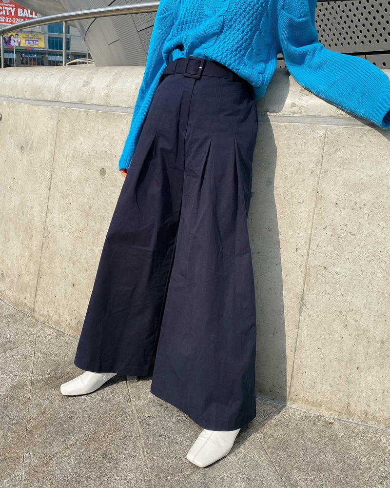high-waist wide leg trousers (w/ belt set)
