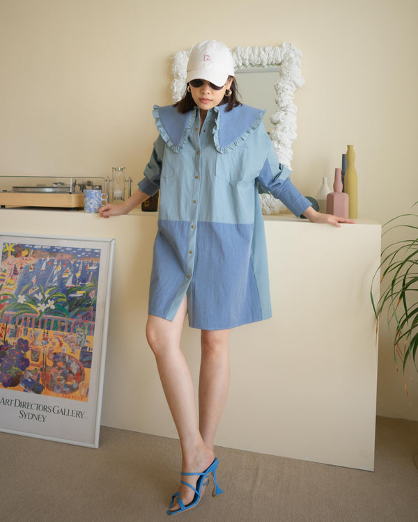 ruffle wide collar dress shirt