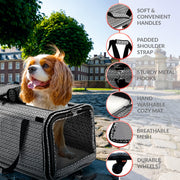 TopiTop Cozzzy Pet Carrier with Wheels Soft Sided, Handle, Breathable Rolling Pet Carrier, Removable Wheels Travel Carrier for Dogs, Cats up to 22 lbs