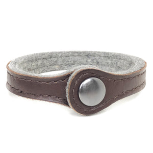 Leather and Wool Stitched Bracelet For Essential Oils