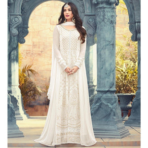 cae0611f6a Sonal Chauhan Georgette Off-White Embroidered Semi Stitched Long Anarkali  Suit