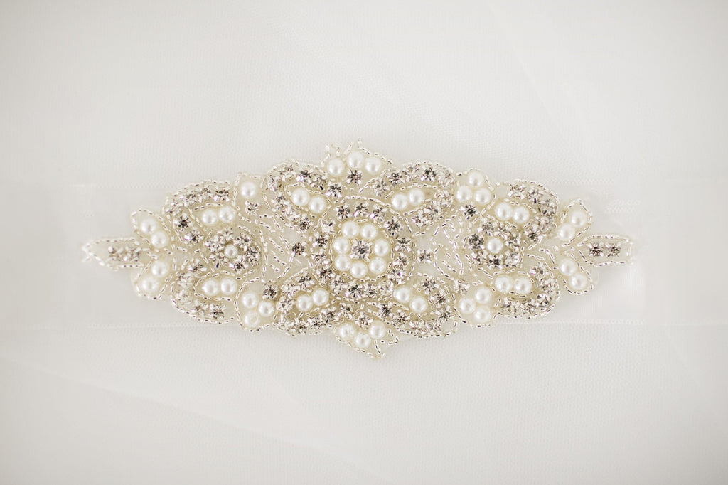 Beaded Diamante Pearl Sash - Violet and Eve