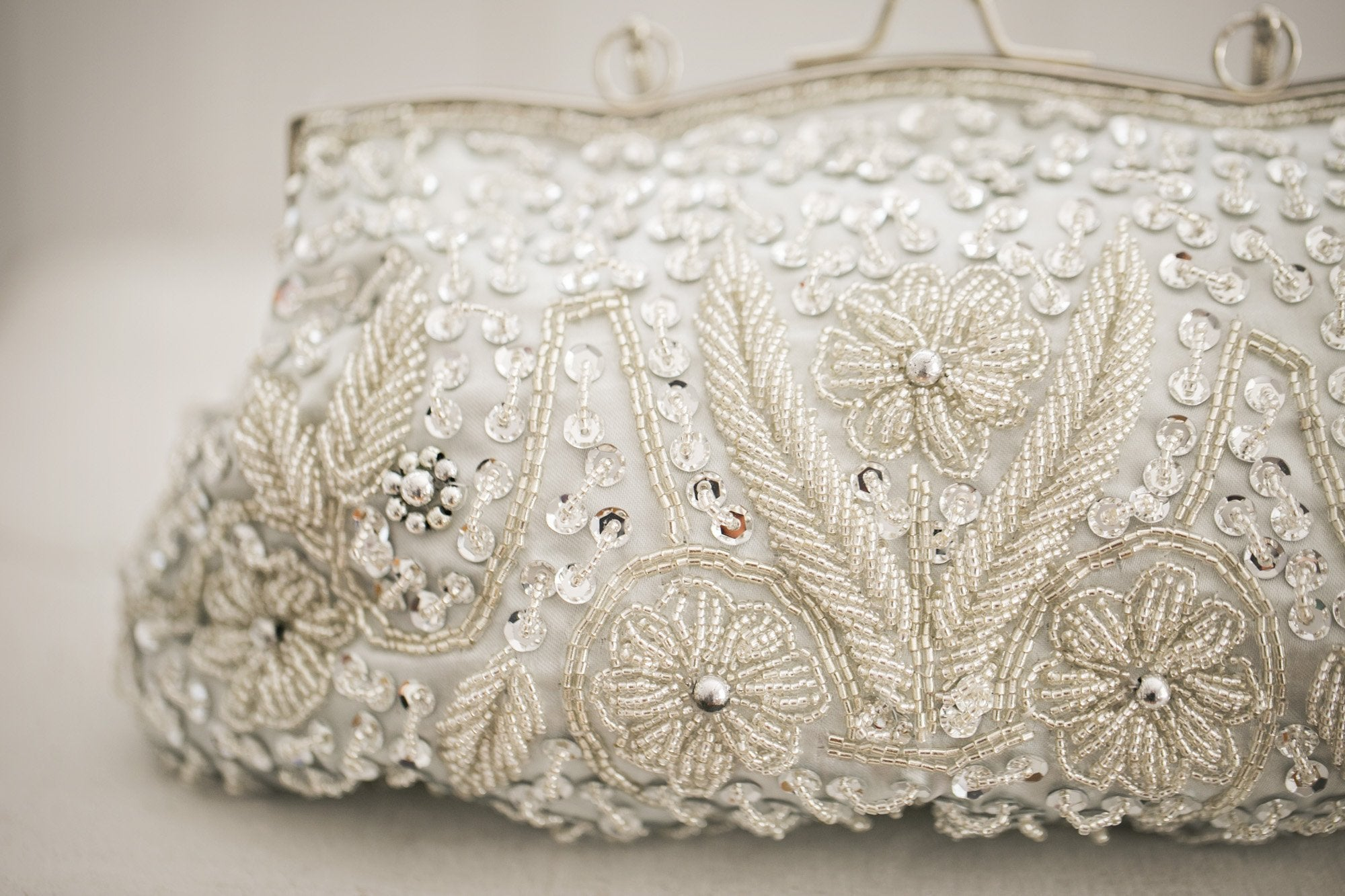 Beaded Silver Clutch - Violet and Eve