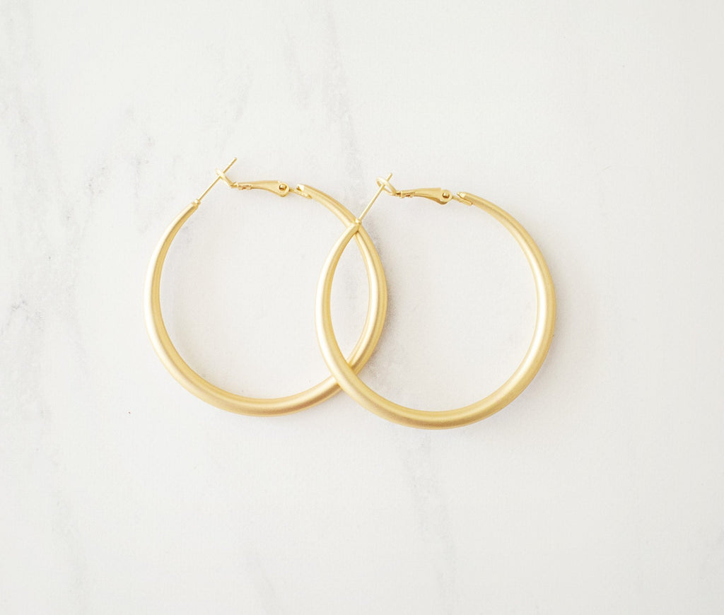 Brushed Gold Hoops - Large - Violet and Eve