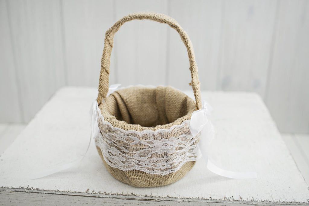Burlap Flower Girl Basket - Violet and Eve