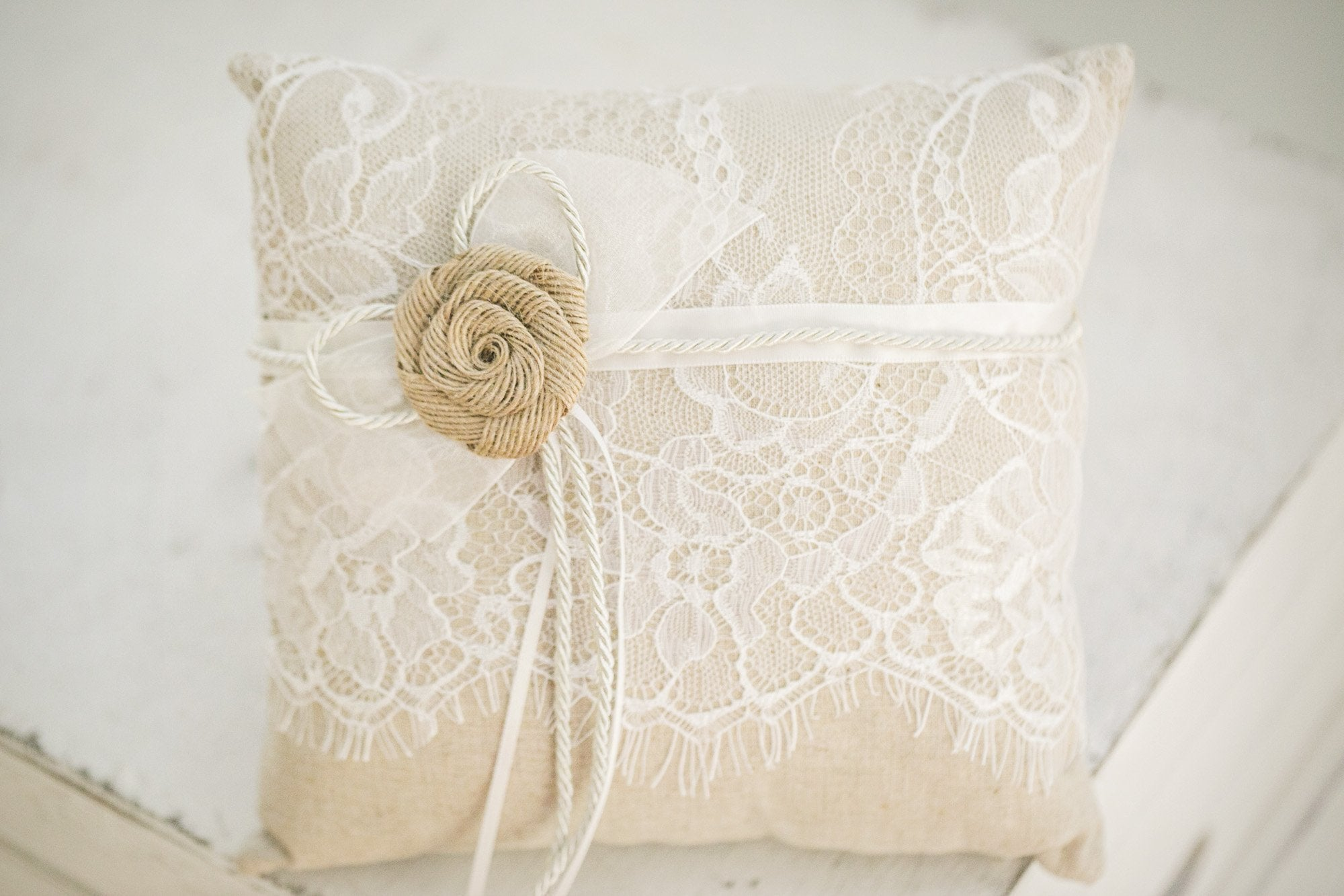 Burlap Flower Girl Pillow - Violet and Eve