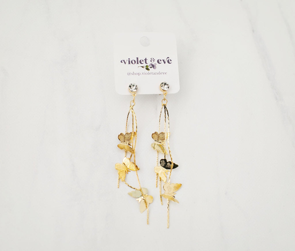 Butterfly Sparkle Drop Earrings - Violet and Eve