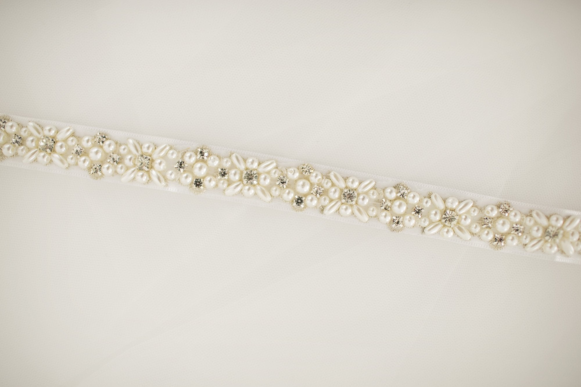 Dainty Pearl Bridal Sash - Violet and Eve