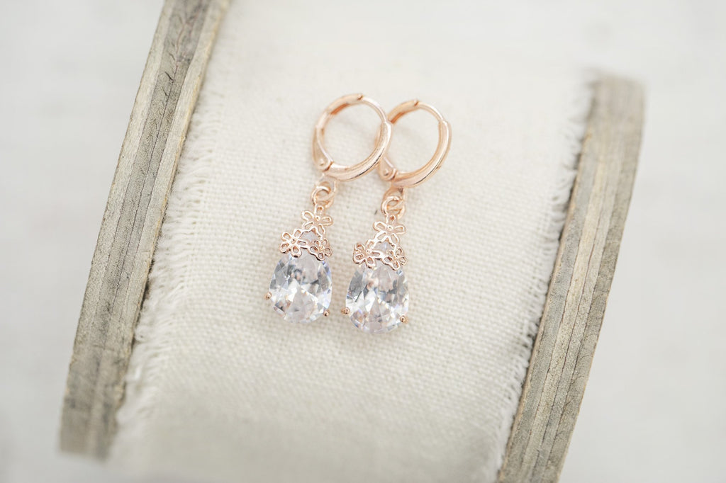Delicate Rose Gold Floral Earrings - Violet and Eve