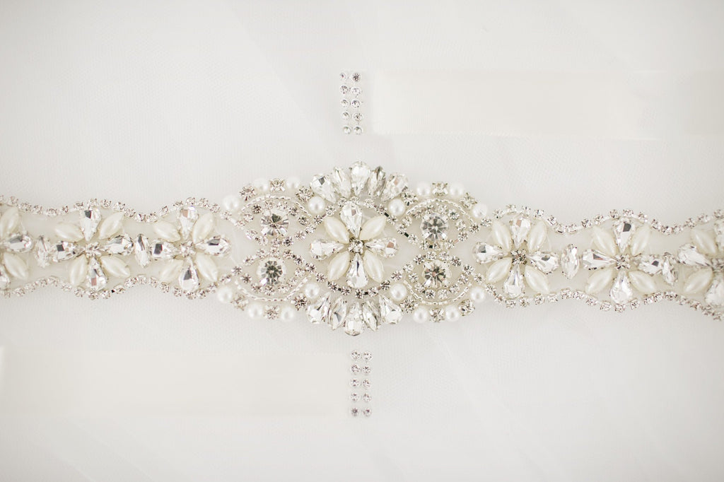 Diamante Pearl Bridal Sash - Violet and Eve