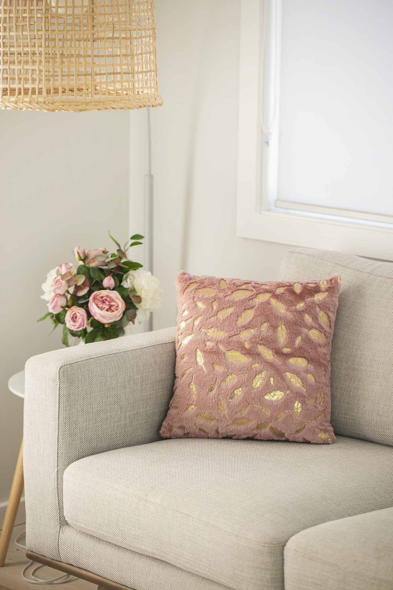 Faux Fur Gold Leaf Cushions - Violet and Eve