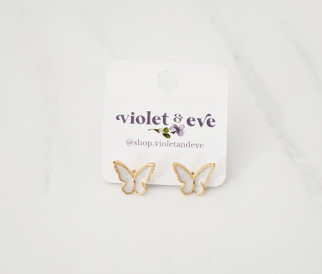 Flutterby Earrings - White - Violet and Eve