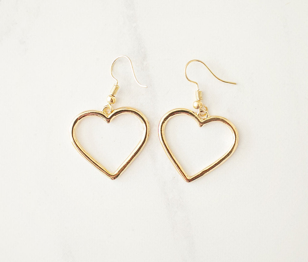 Gold Heart Drop Earrings - Violet and Eve